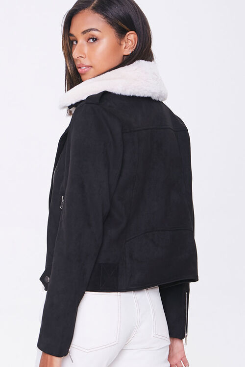 Faux Suede & Faux Fur Collar Moto Jacket, image 3