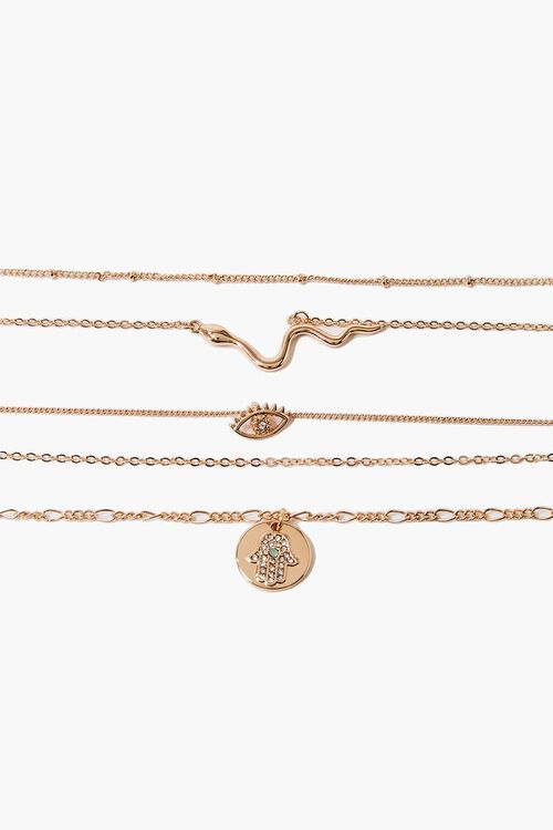 GOLD Snake Pendant Choker Necklace Set, image 1