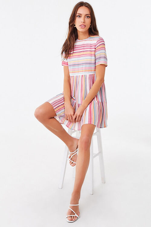 PINK/MULTI Multicolored Striped Tiered Dress, image 4