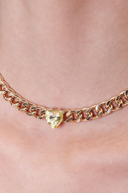 GOLD Faux Gem Heart Charm Choker Necklace, image 2