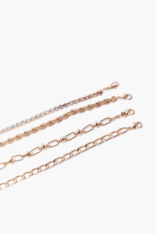 GOLD Rhinestone Chain Bracelet Set, image 2