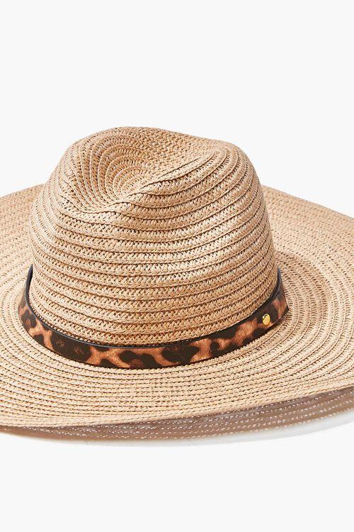 Faux Straw Leopard Print-Trim Hat, image 4