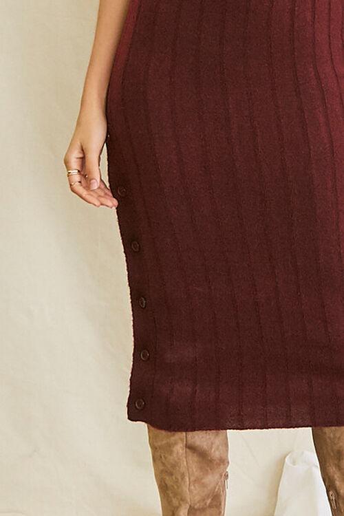 BURGUNDY Sweater-Knit Ribbed Halter Midi Dress, image 5