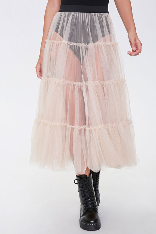 Sheer Tiered Midi Skirt, image 2