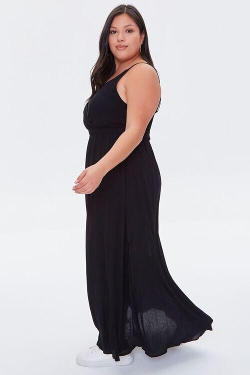 BLACK Plus Size Surplice Cami Maxi Dress, image 2