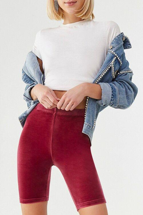 BURGUNDY High-Rise Velvet Biker Shorts, image 1
