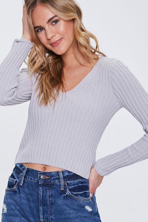 Ribbed Knit V-Neck Sweater, image 1
