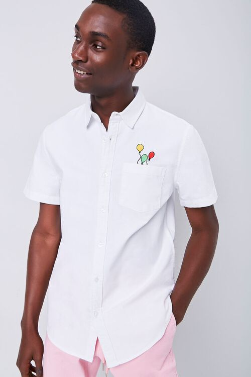 Fitted Embroidered Balloon Graphic Pocket Shirt, image 2