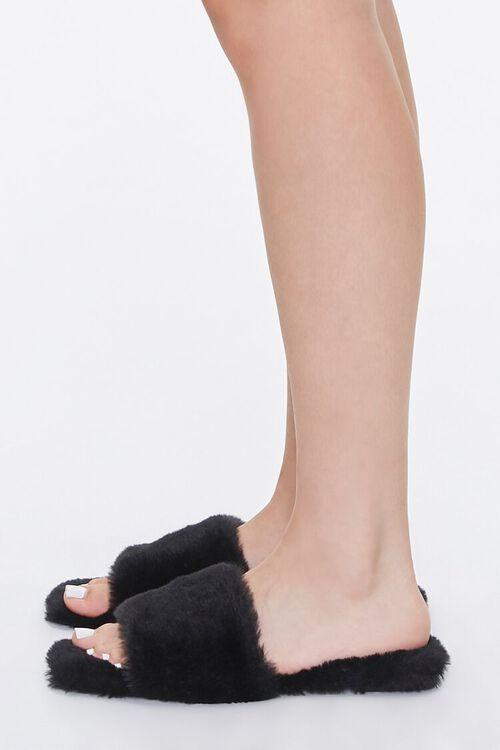 Faux Fur Open-Toe Slippers, image 2