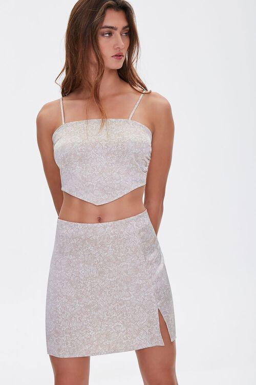 Snakeskin Print Mini Skirt, image 6