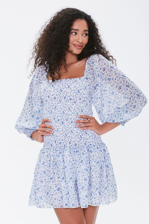 Smocked Georgette Floral Mini Dress, image 1