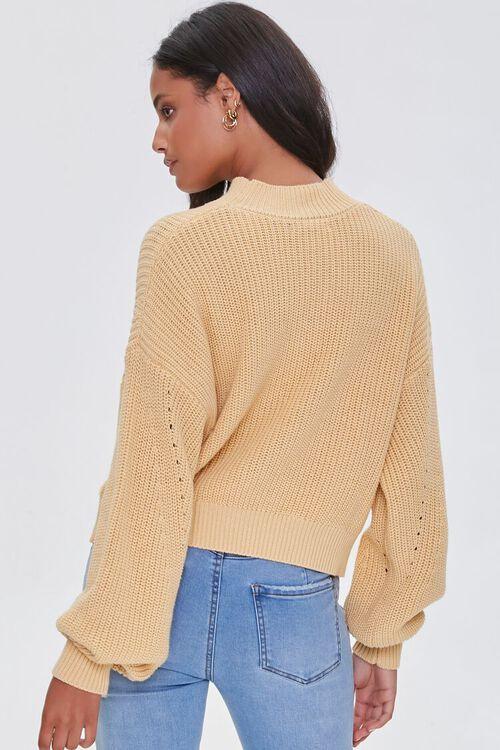 YELLOW Mock Neck Ribbed Sweater, image 3