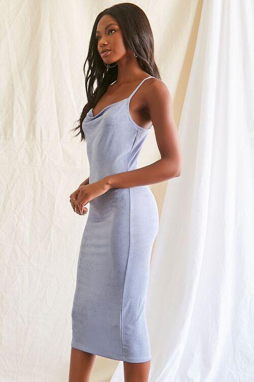 DUSTY BLUE Cowl Neck Cami Midi Dress, image 2