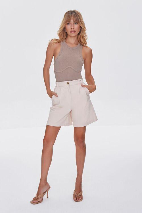 TAUPE Ribbed Sleeveless Bodysuit, image 4
