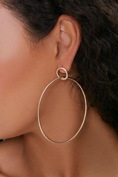 Etched Hoop Drop Earrings, image 1