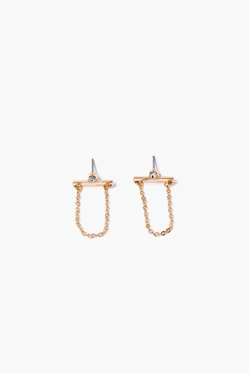 GOLD Faux Gem Chain Drop Earrings, image 1