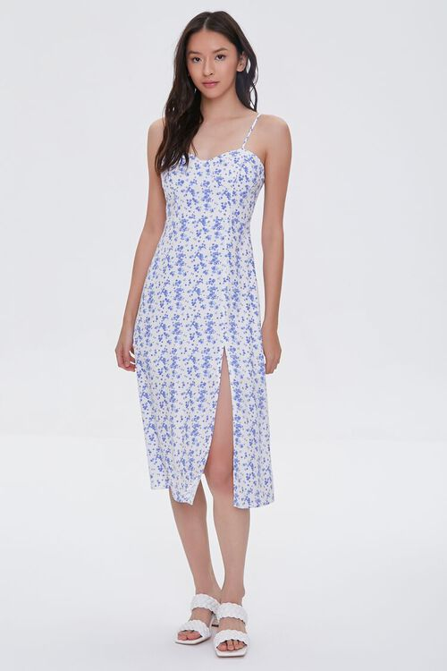 CREAM/BLUE Sweetheart Floral Dress, image 4