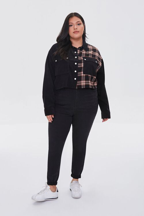 Plus Size Cropped Corduroy Plaid Shirt, image 4