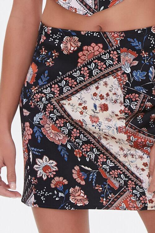 BLACK/MULTI Patchwork Floral Print Mini Skirt, image 5