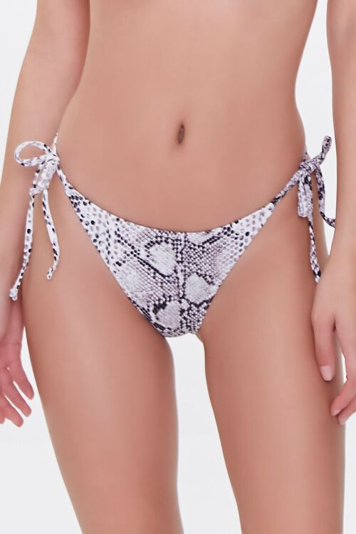 WHITE/BLACK Snake Print String Bikini Bottoms, image 2