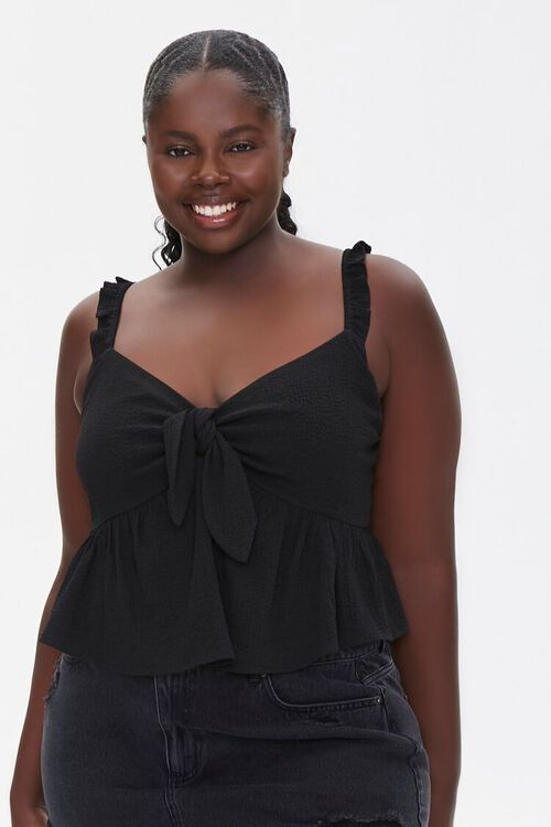 Plus Size Knotted Flounce Top, image 1