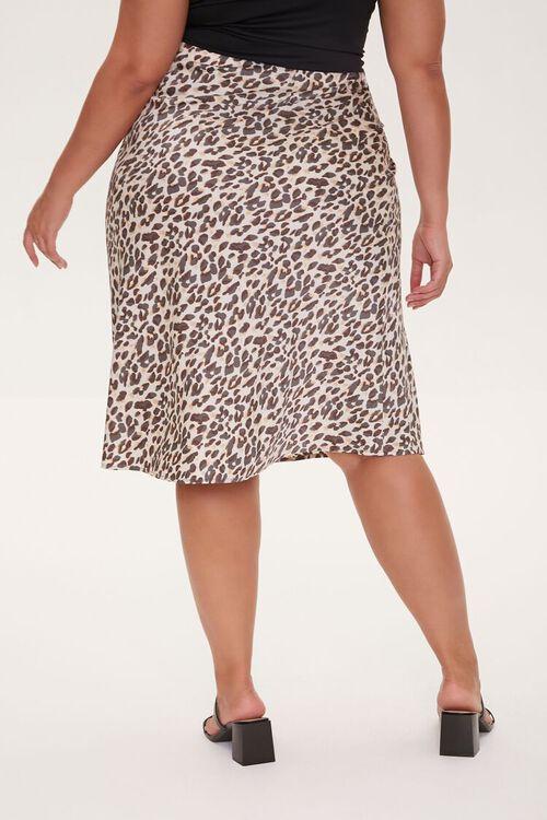 Plus Size Satin Leopard Print Skirt, image 4