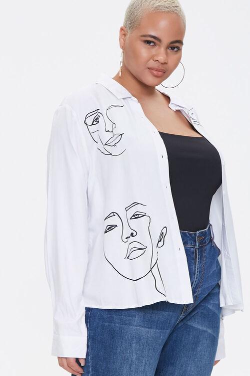 Plus Size Line Art Face Graphic Shirt, image 1