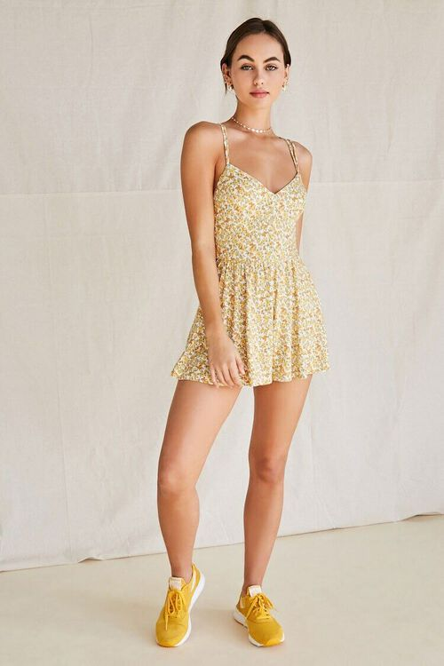CREAM/YELLOW Floral Strappy-Back Romper, image 4
