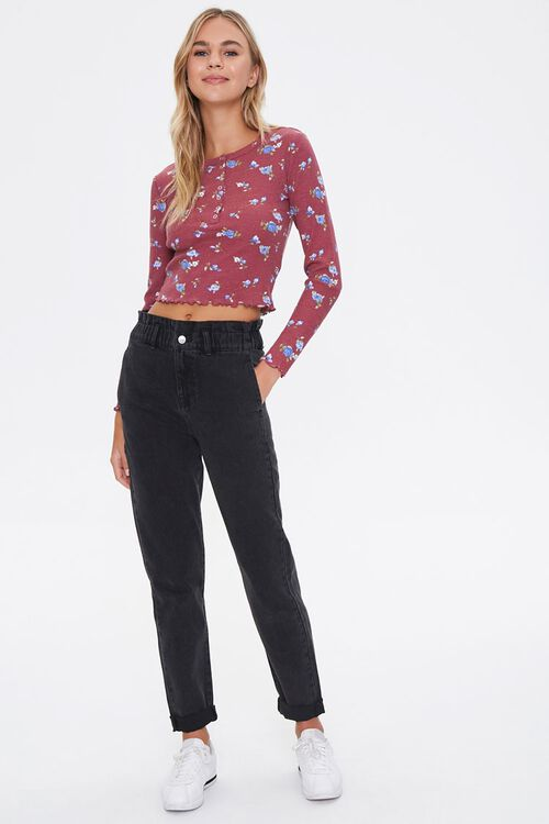Floral Print Henley Top, image 4