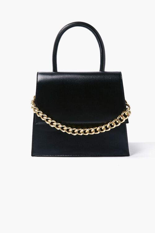 Faux Leather Structured Satchel, image 1