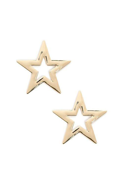 GOLD Oversized Star Stud Earrings, image 1