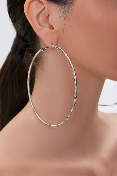 Oversized Textured Hoop Earrings, image 1