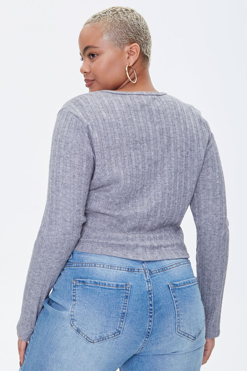 Plus Size Ribbed Long-Sleeve Top, image 3