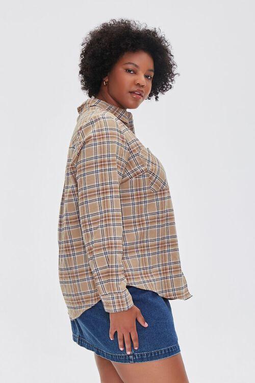 Plus Size Dual-Pocket Flannel Plaid Shirt, image 2
