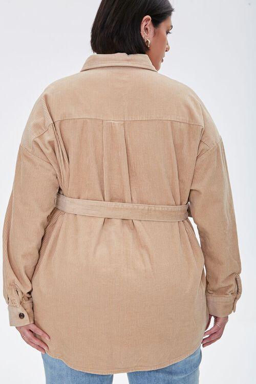 Plus Size Corduroy Belted Shacket, image 3