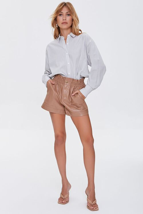 Faux Leather High-Rise Shorts, image 5