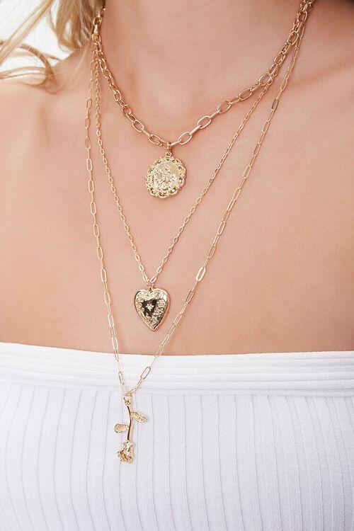 GOLD Rose Pendant Layered Necklace, image 1