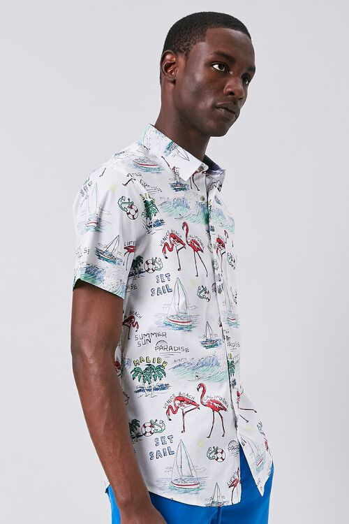 WHITE/MULTI Tropical Seaside Print Fitted Shirt, image 2
