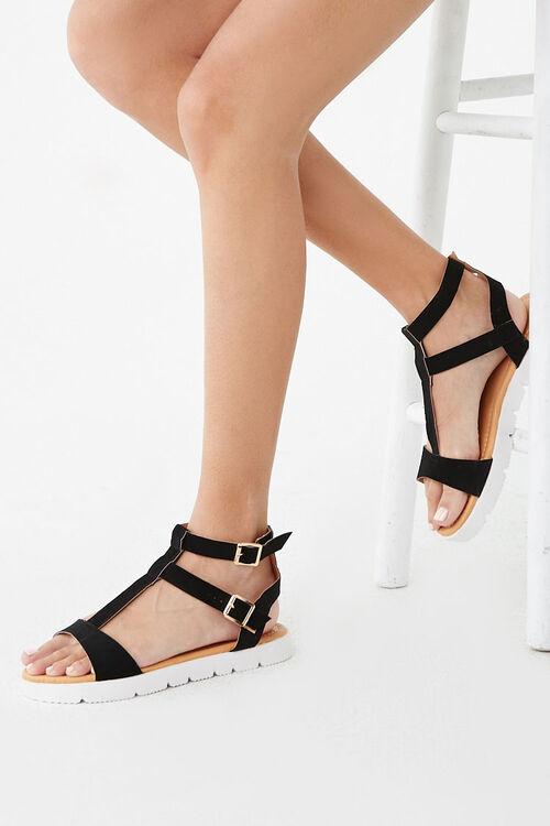 BLACK Strappy Faux Suede Sandals, image 1