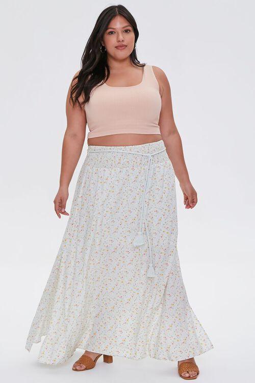 MINT/MULTI Plus Size Floral M-Slit Skirt, image 5