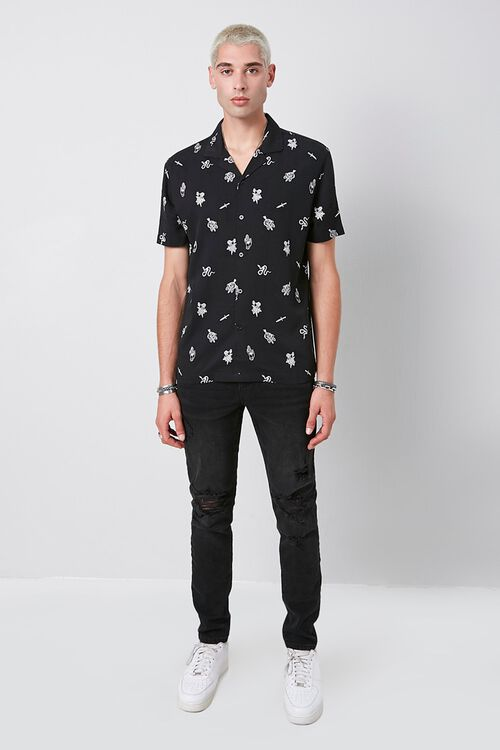 Classic Fit Snake & Skull Print Shirt, image 4