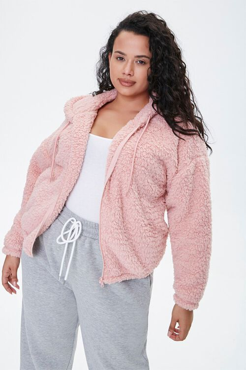 Plus Size Faux Shearling Zip-Up Hoodie, image 1