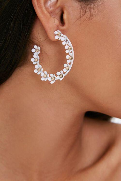 GOLD/WHITE Floral Hoop Earrings, image 1