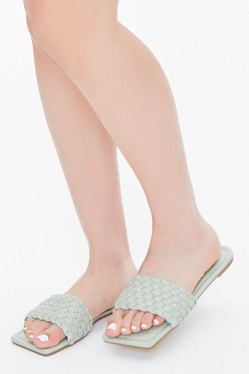 Basketwoven Square-Toe Sandals, image 1