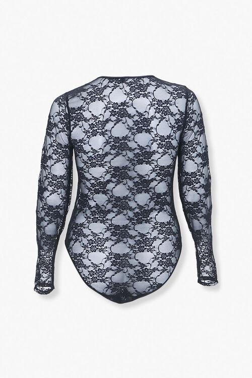 BLACK Plus Size Floral Lace Bodysuit, image 3