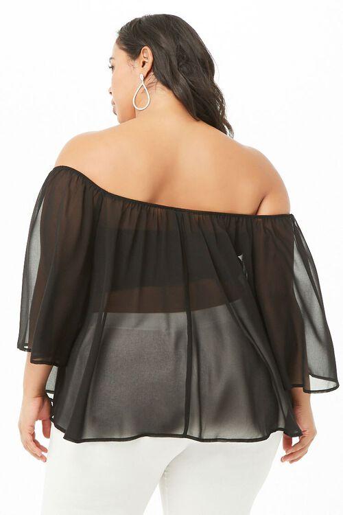 BLACK Plus Size Sheer Off-the-Shoulder Top, image 3