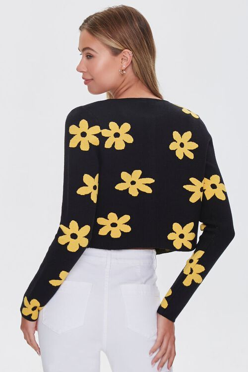 Daisy Print Buttoned Cardigan Sweater, image 3