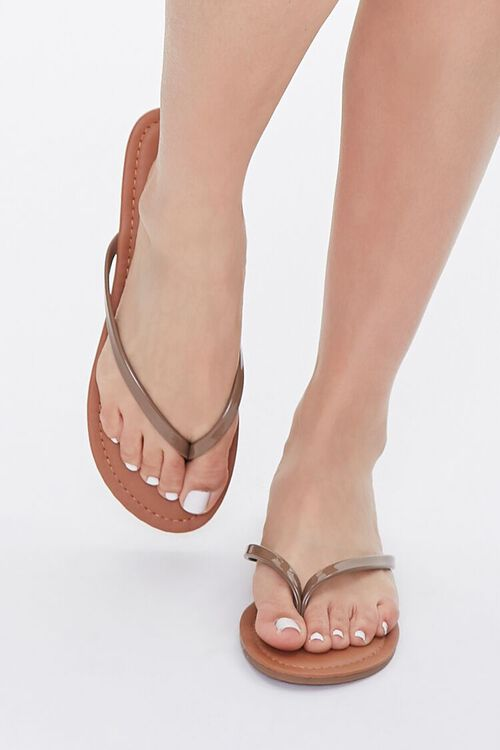 Faux Patent Leather Thong Sandals, image 4
