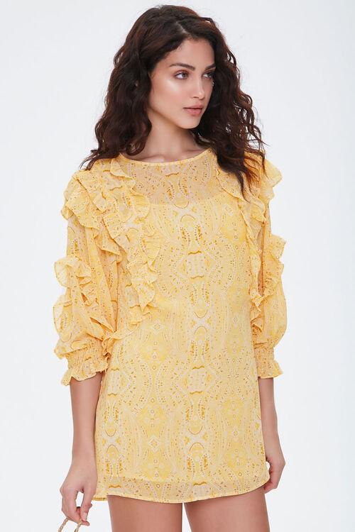 Paisley Ruffled Mini Dress, image 1