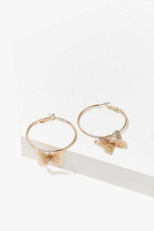 GOLD Butterfly Hoop Earrings, image 1